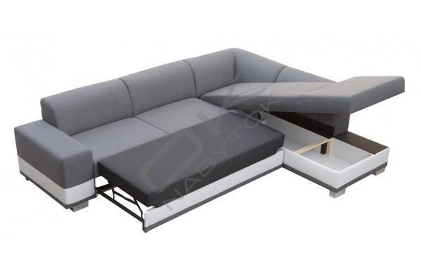 FENIX Rohová sedačka DARCI - tmavohnedá/biela