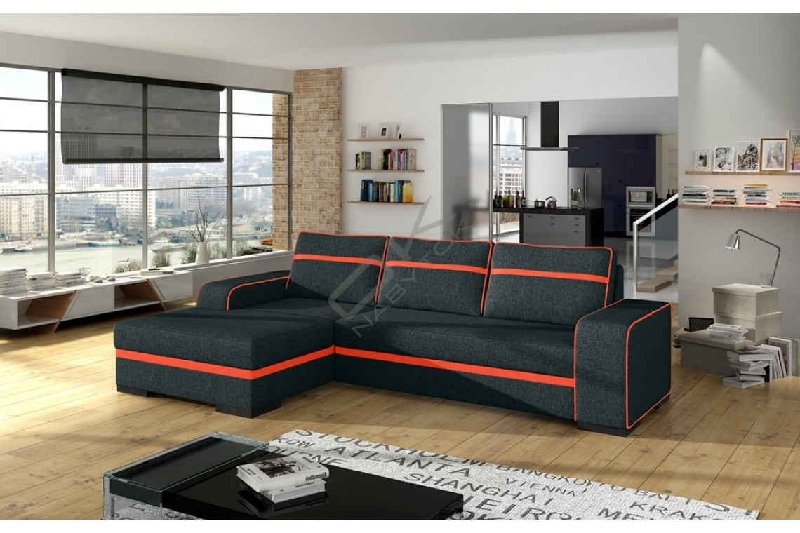 Rohová sedacia súprava FIRA - čierna/orange