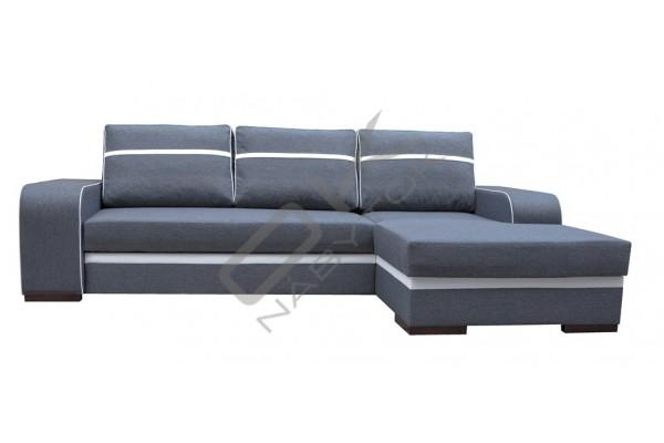 Rohová sedacia súprava FIRA - tmavosivá/biela