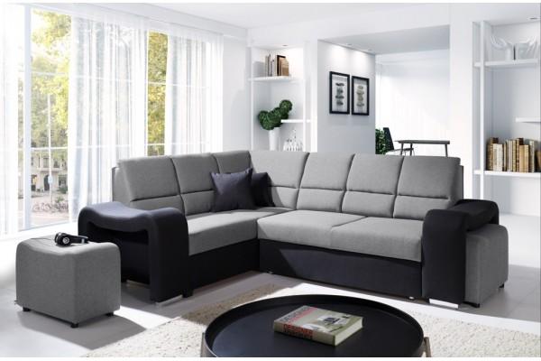 Rohová sedacia súprava ODY - svetlosivá/čierna