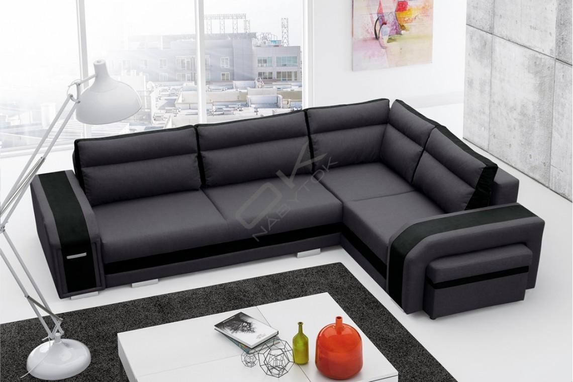 Rohová sedačka SANDY - tmavosivá/čierna