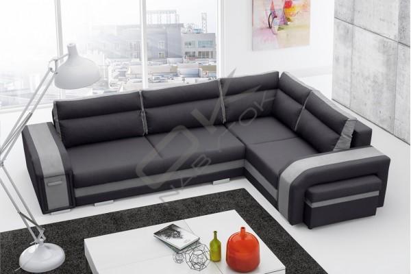 Rohová sedačka SANDY - svetlosivá/čierna