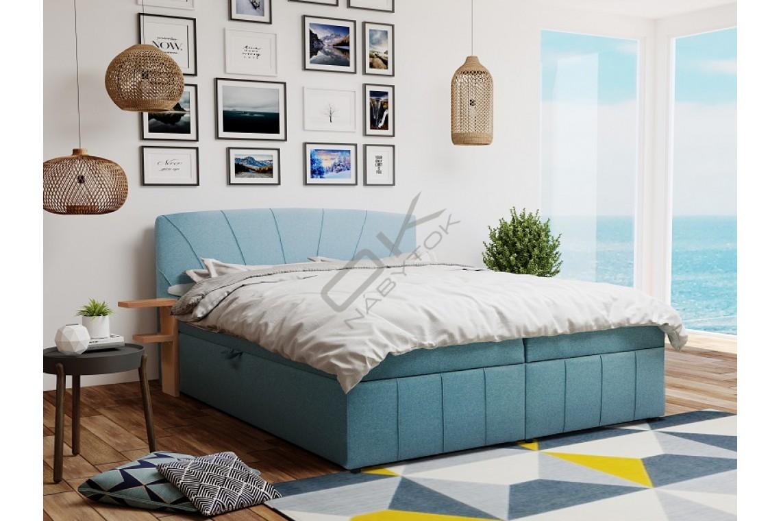 Posteľ CAIRO s roštom a úložným boxom + topper ZDARMA 180x200 / modrá