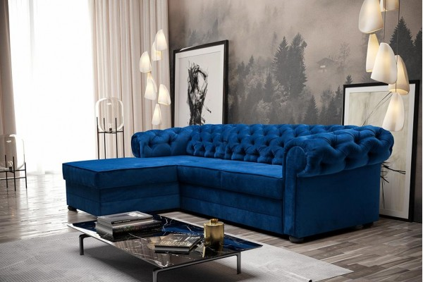 Rohová sedacia súprava  RAMONA modrá