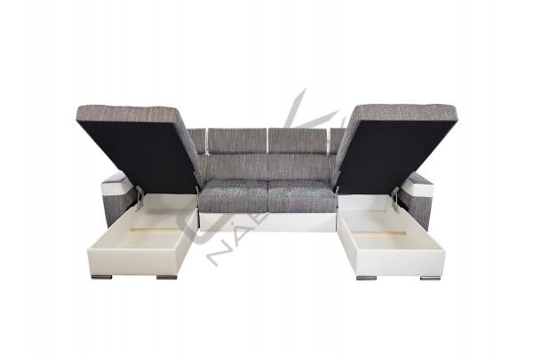 FENIX Rozkladacia univerzálna sedacia súprava AMORA - tmavosivá/biela