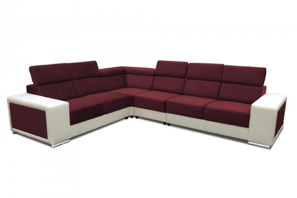 FENIX Rohová rozkladacia sedacia súprava CARI - tmavočervená/biela