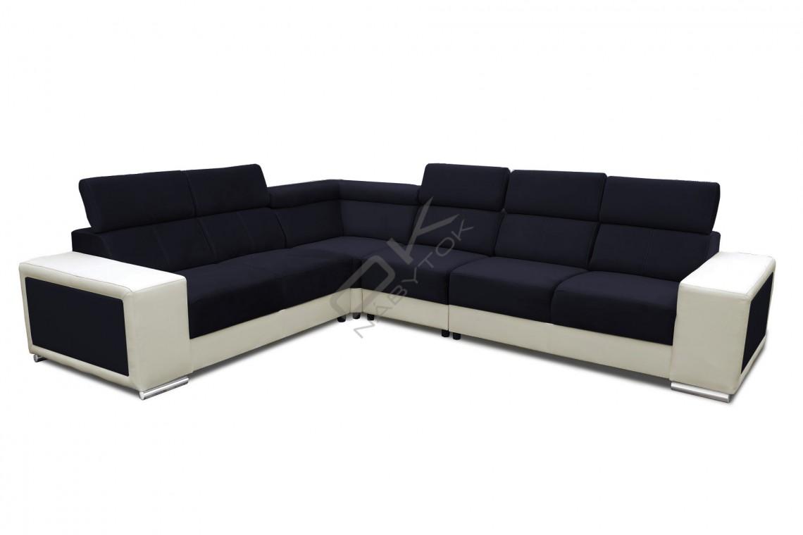 FENIX Rohová rozkladacia sedacia súprava CARI - čierna/biela