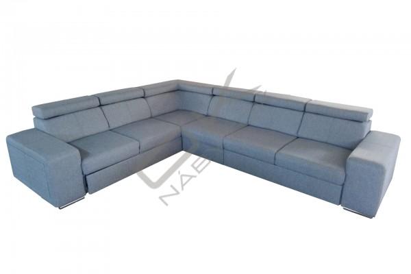 FENIX Rohová rozkladacia sedacia súprava CARI - svetlosivá/biela