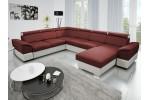 Kazara - Lux 15 tmavočervená + eko koža Soft 31 biela
