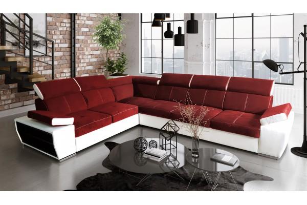 Rohová sedacia súprava BOBY - červená/biela