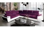 BOBY - látka Lux 21 fialová + eko koža Soft 31 biela/korpus
