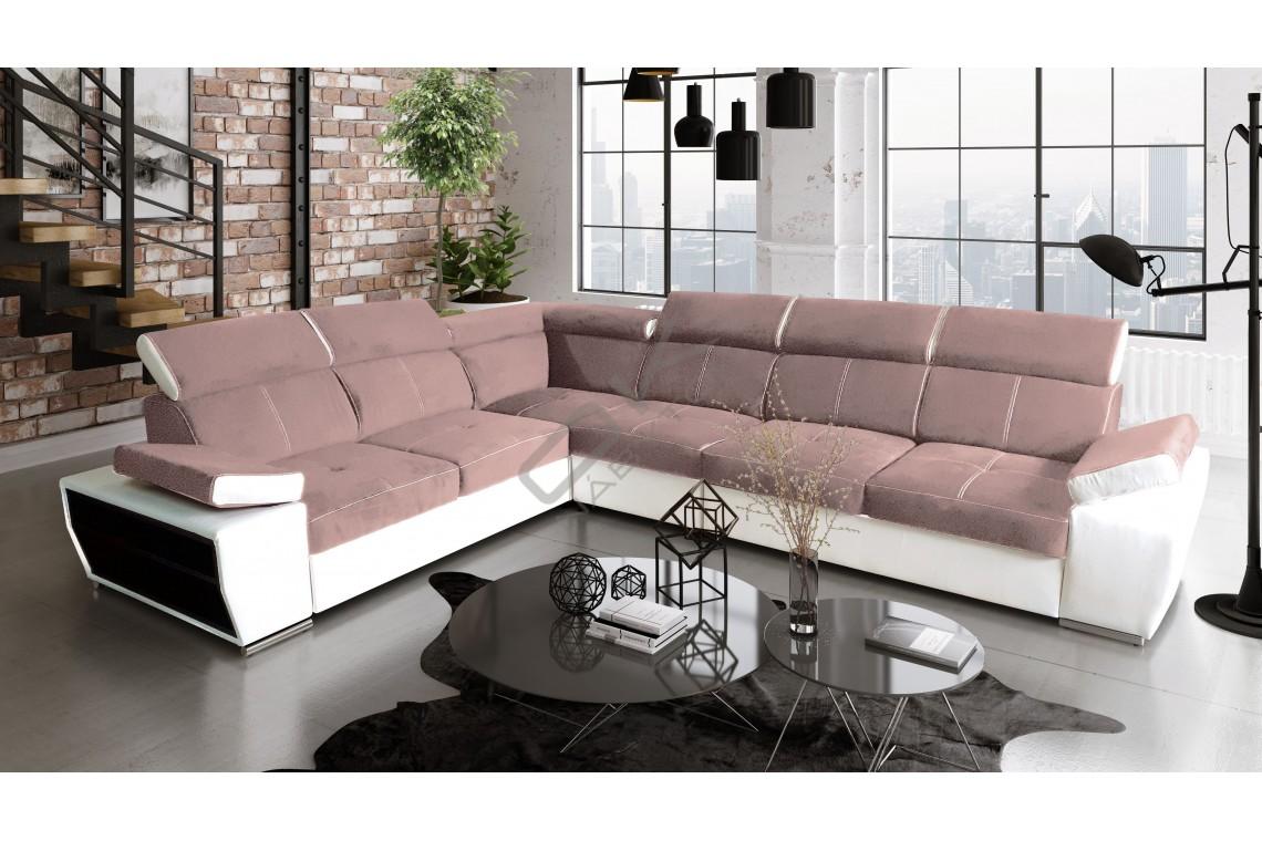 Rohová sedacia súprava BOBY - ružová/biela