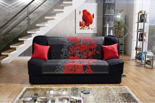 Rozkladacia pohovka PLUM NEW DELUXE - čierna/kvet červený