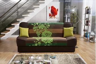 Rozkladacia pohovka PLUM NEW DELUXE - hnedá/kvet zelený