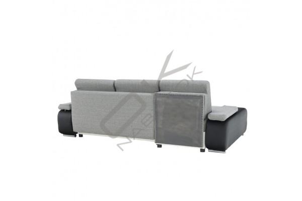 Rohová sedacia súprava LATE - čierna/biela