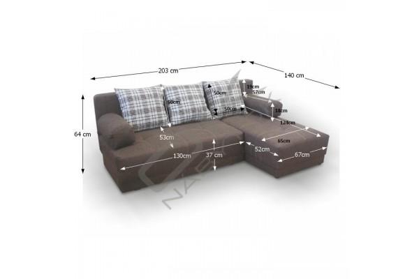 Rohová sedacia súprava MAX - tmavohnedá/béžová