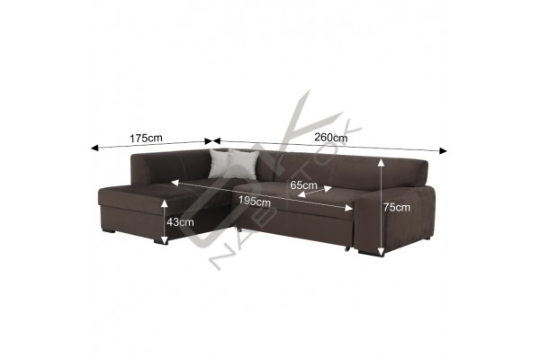 FENIX Rohová sedacia súprava MINERVA - svetlosivá/biela
