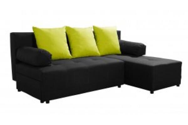 Rohová sedacia súprava WANDA - čierna/svetlozelená
