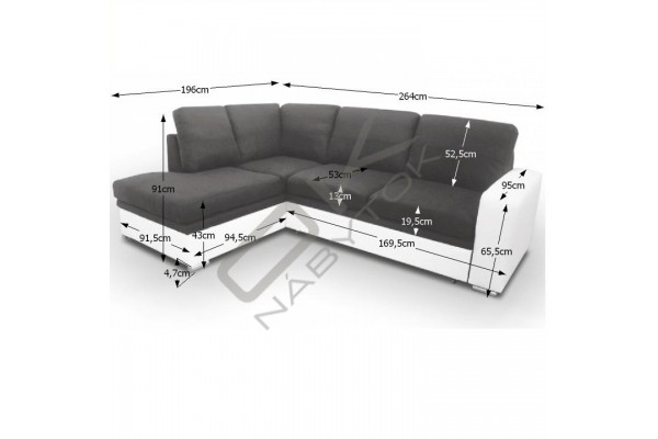 FENIX Rohová sedacia súprava WARAN - čierna/biela