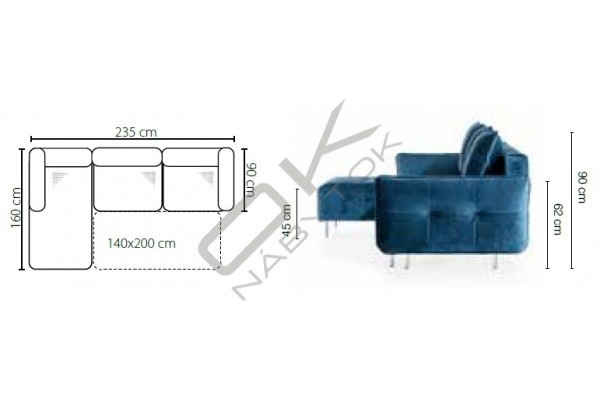 Rohová sedačka JESSI - široký výber farieb