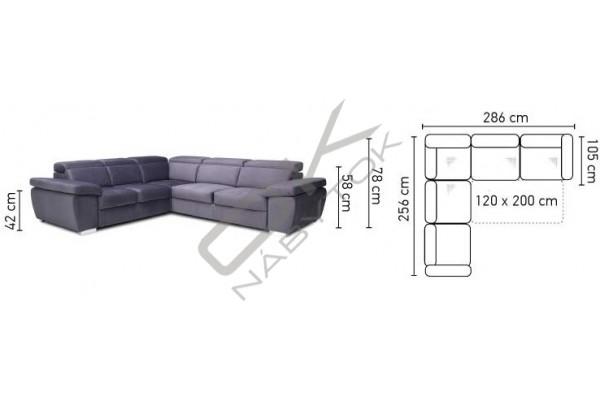 Rohová sedacia súprava ROSSO XL,pevná