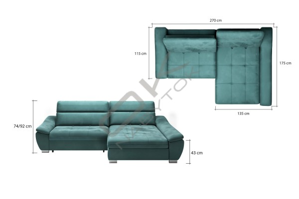 WERSAL Luxusná rohová sedacia súprava CALA - široký výber farieb
