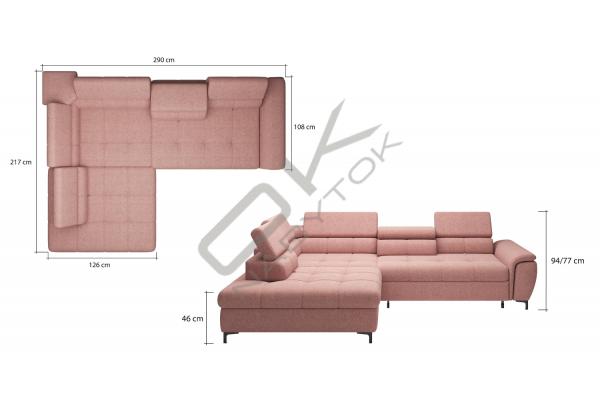 WERSAL Luxusná rozkladacia rohová sedacia súprava DENVO - široký výber farieb
