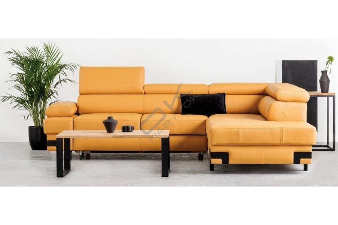 WERSAL Kožená rozkladacia rohová sedacia súprava EMPORIO L - široký výber farieb
