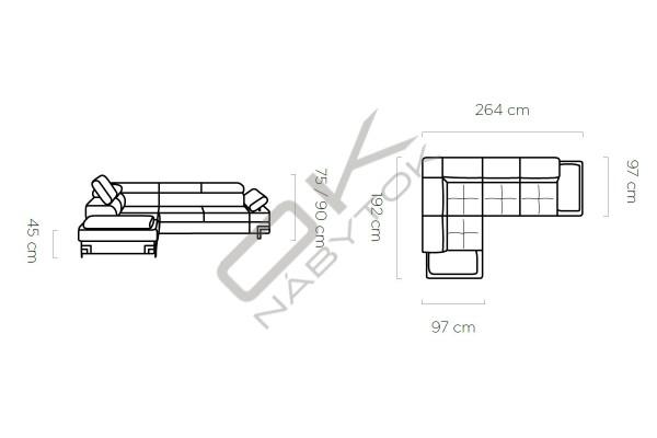 WERSAL Rozkladacia rohová sedacia súprava EMPORIO L2 - široký výber farieb