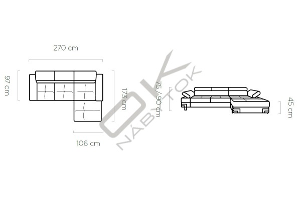 WERSAL Rozkladacia rohová sedacia súprava EMPORIO MINI - široký výber farieb