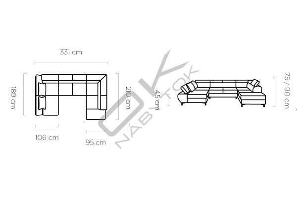 WERSAL Rozkladacia sedacia súprava FLAME XL - široký výber farieb