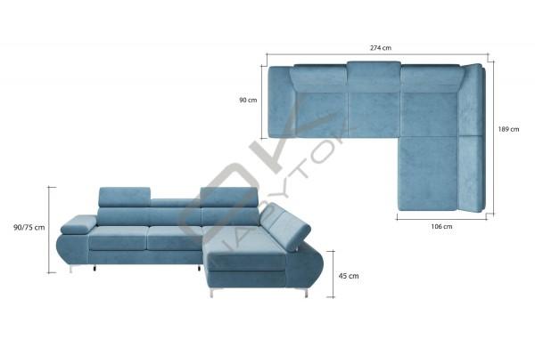WERSAL Rozkladacia rohová sedacia súprava FLAME MINI -  široký výber farieb