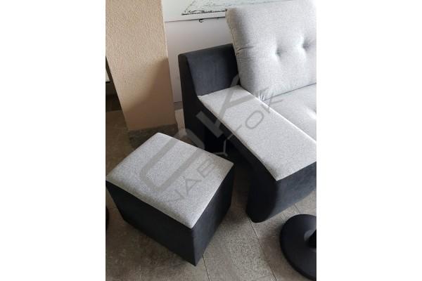 SKLADOM WERSAL Rozkladacia rohová sedacia súprava GALAXY A  s taburetkou / svetlosivá