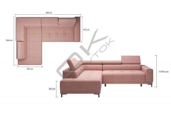 WERSAL Luxusná rohová sedacia súprava HUGO L - široký výber farieb