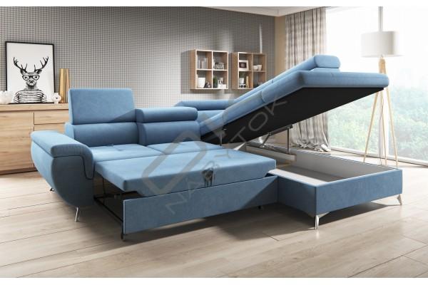 WERSAL Kožená rozkladacia rohová sedacia súprava MONK L s reguláciou hĺbky sedenia