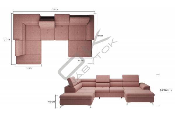 WERSAL Kožená rozkladacia sedacia súprava MONK XL s reguláciou hĺbky sedenia