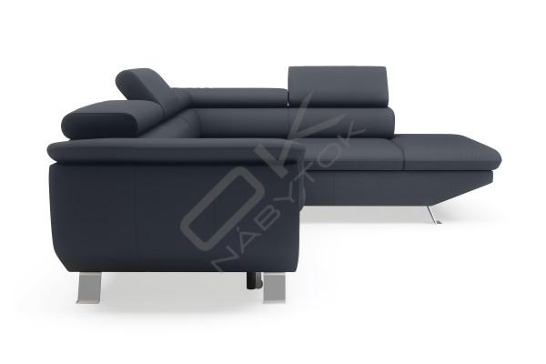 WERSAL Kožená rohová sedacia súprava PHOENIX L čierna