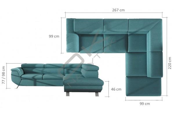 WERSAL Kožená rohová sedacia súprava PHOENIX L sivá