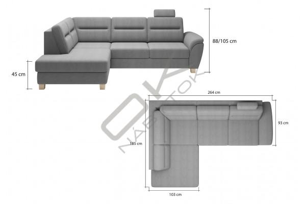 WERSAL Kožená rohová sedacia súprava SANTI - široký výber farieb