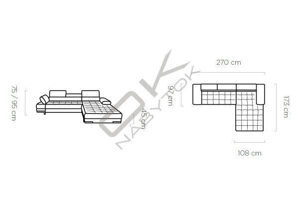 WERSAL Rozkladacia rohová sedacia súprava SELVA MINI - široký výber farieb