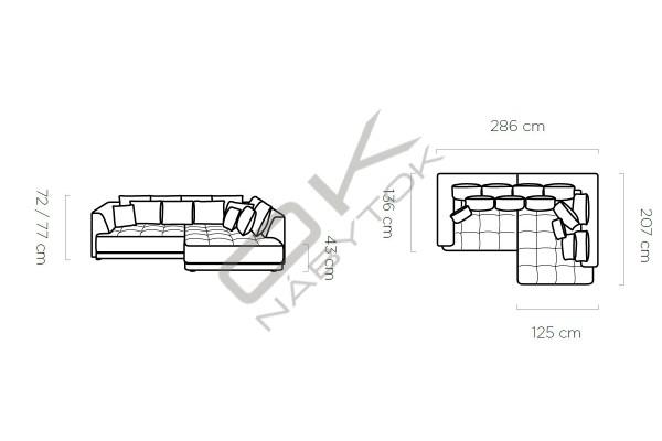 WERSAL Rohová sedacia súprava TIGA - široký výber farieb